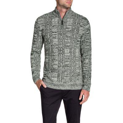 Fashion 4 Men - Tarocash Zip Neck Cable Knit Grey Marle S