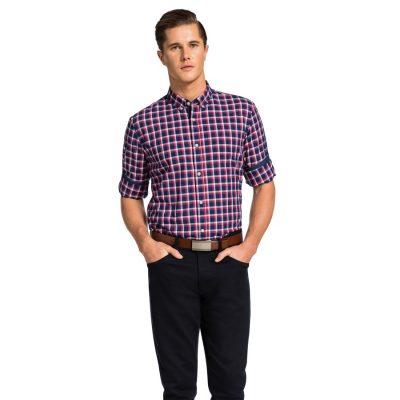 Fashion 4 Men - yd. Andreas Slim Fit Shirt Blue/Red 3 Xs