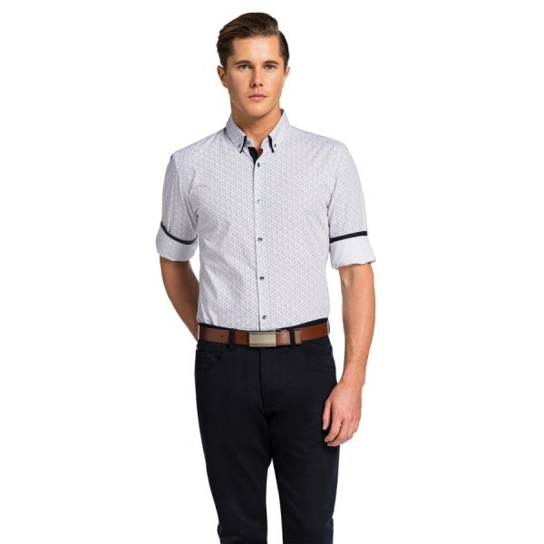 Fashion 4 Men - yd. Chandler Slim Fit Shirt White/Navy L