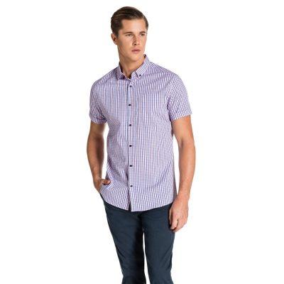 Fashion 4 Men - yd. Emilio Slim Fit Ss Shirt Pink Check Xxxl