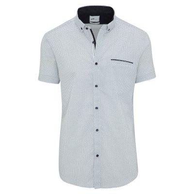 Fashion 4 Men - yd. Euro Geo Slim Fit S/S Shirt Blue Xxxl