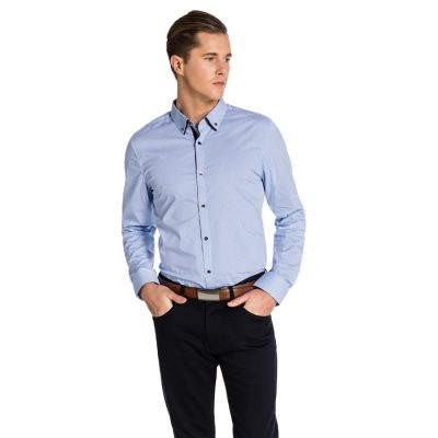 Fashion 4 Men - yd. Langton Slim Fit Shirt Blue/ White M