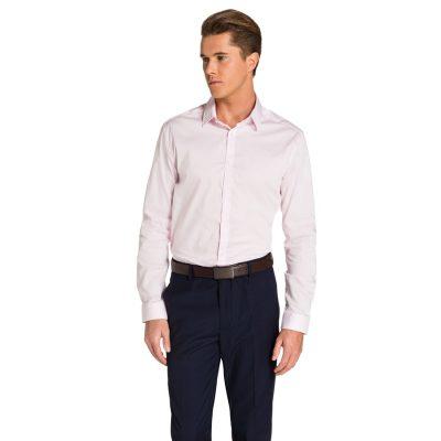 Fashion 4 Men - yd. Plain Stretch Slim Fit Shirt Pink S