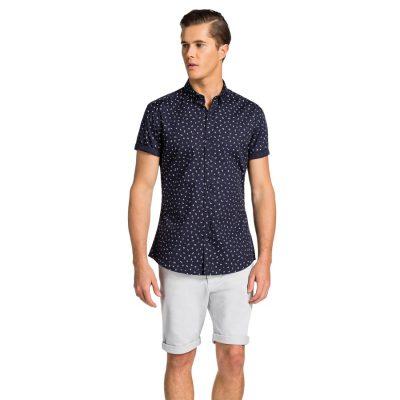 Fashion 4 Men - yd. Torino Slim Fit S/S Shirt Navy 3 Xs