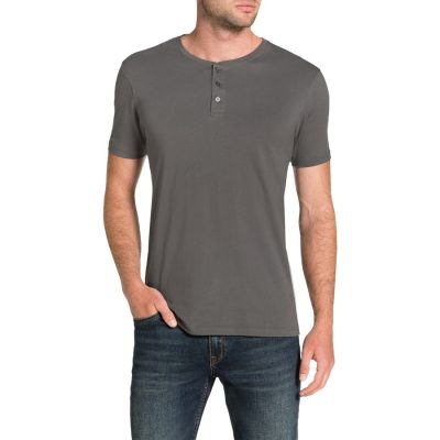 Fashion 4 Men - Tarocash Essential Henley Tee Pewter 4 Xl