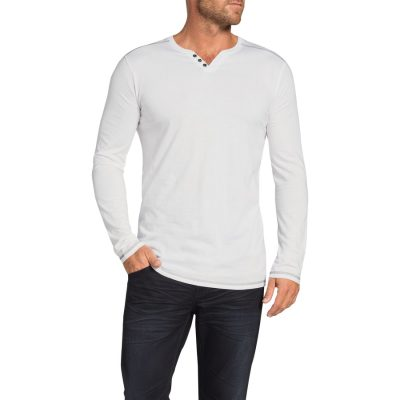 Fashion 4 Men - Tarocash Graceland Henley Long Tee White L