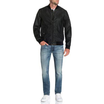 Fashion 4 Men - Tarocash Sheldon Faux Leather Bomber Black S