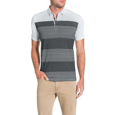 Fashion 4 Men - Tarocash Spliced Stripe Polo White Xl