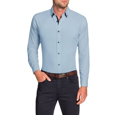 Fashion 4 Men - Tarocash Westworld Slim Textured Shirt Sky Xs