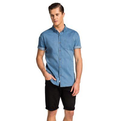 Fashion 4 Men - yd. Denim Muscle Fit Ss Shirt Mid Blue L