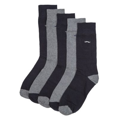 Fashion 4 Men - yd. Merv 5 Sock Pack Navy/Greymarle One