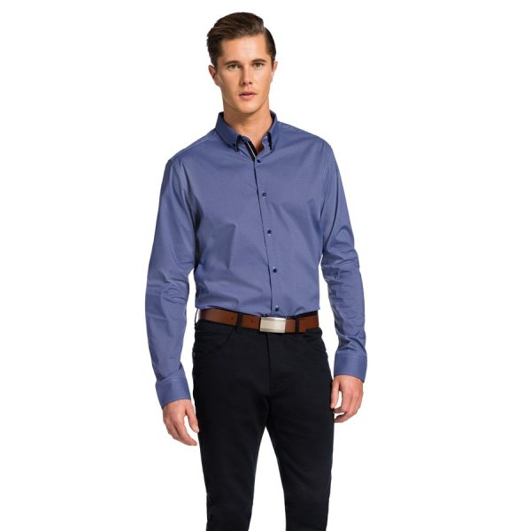 Fashion 4 Men - yd. Stenson Slim Fit Shirt Blue Xs