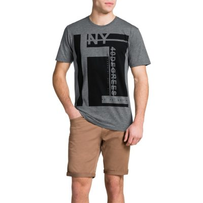Fashion 4 Men - Tarocash 40 Degrees Prnted Tee Grey Marle 5 Xl