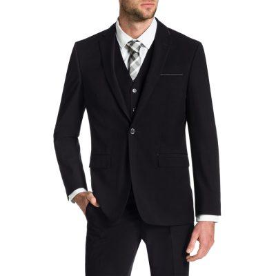Fashion 4 Men - Tarocash Bond Trim 1 Button Suit Black 36