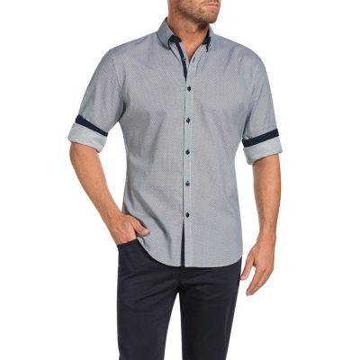 Fashion 4 Men - Tarocash Chester Slim Print Shirt Navy Xxl