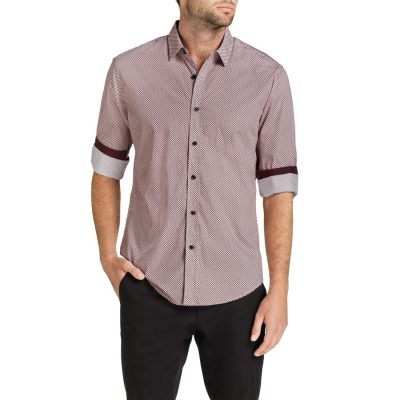 Fashion 4 Men - Tarocash Clock Print Shirt Burgundy Xl