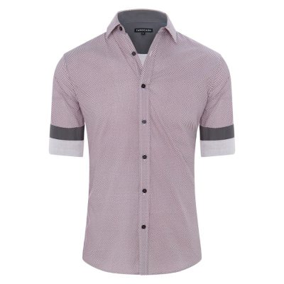 Fashion 4 Men - Tarocash Geelong Print Shirt Burgundy S