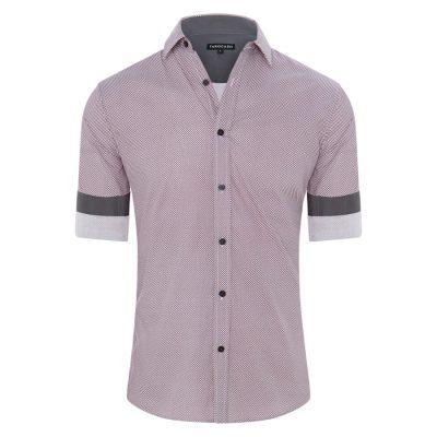 Fashion 4 Men - Tarocash Geelong Print Shirt Burgundy Xl