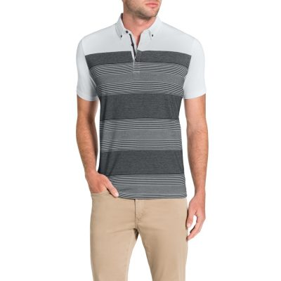 Fashion 4 Men - Tarocash Spliced Stripe Polo White Xxxl