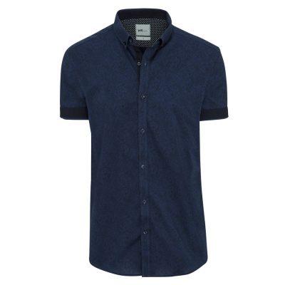 Fashion 4 Men - yd. Euro Paisley Slimfit Ss Shirt Dark Blue Xs