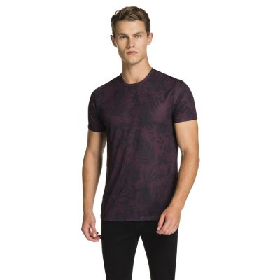 Fashion 4 Men - yd. Fern Print Tee Grape 3 Xl
