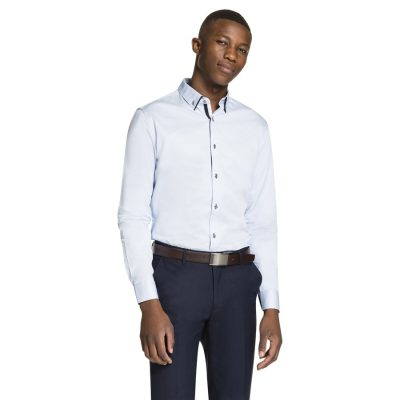 Fashion 4 Men - yd. Luxe Slim Fit Dress Shirt Light Blue M