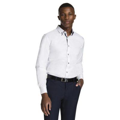 Fashion 4 Men - yd. Luxe Slim Fit Dress Shirt White L