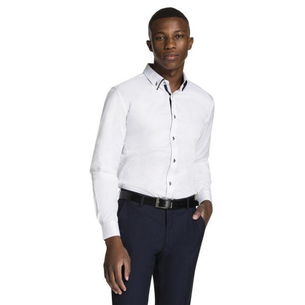 Fashion 4 Men - yd. Luxe Slim Fit Dress Shirt White Xxl