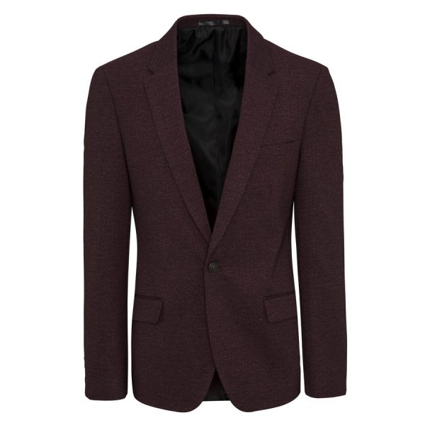 Fashion 4 Men - yd. Ponte Blazer Deep Burgundy Xs
