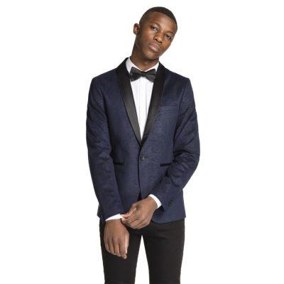 Fashion 4 Men - yd. Printed Spy Jacket Midnight Blue Xs