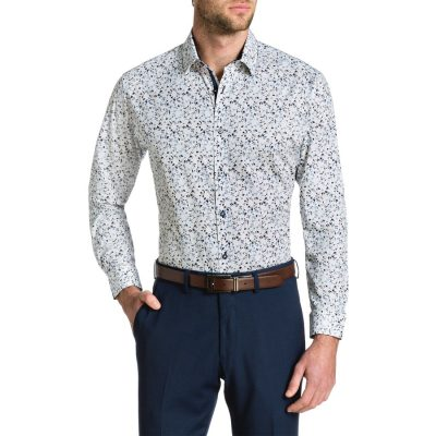 Fashion 4 Men - Tarocash Adam Stretch Slim Floral Shirt White Xs