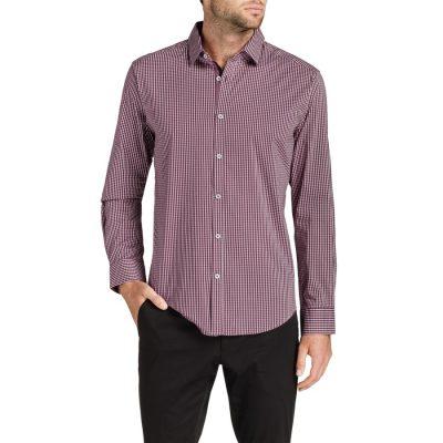 Fashion 4 Men - Tarocash Baker Stretch Check Shirt Burgundy Xl