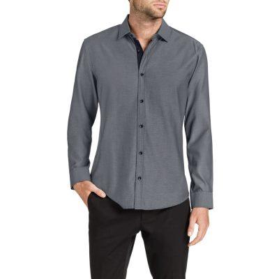 Fashion 4 Men - Tarocash Belmont Diamond Jacquard Shirt Black L