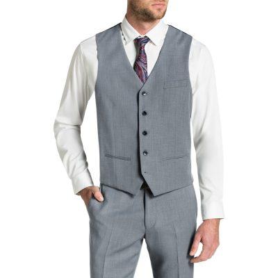 Fashion 4 Men - Tarocash Brosnan Stretch Waistcoat Silver 5 Xl