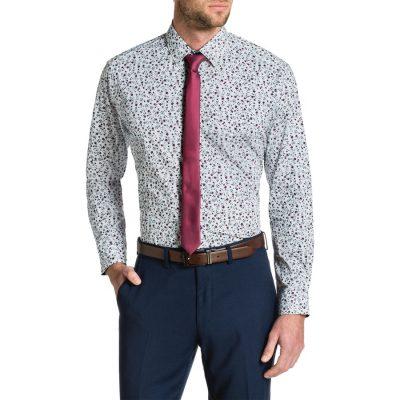 Fashion 4 Men - Tarocash Buddy Stretch Print Shirt White Xl