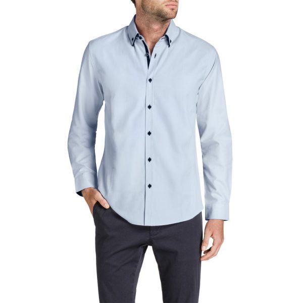 Fashion 4 Men - Tarocash Charlie Textured Shirt Sky L