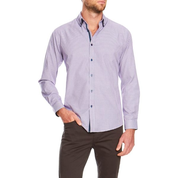 Fashion 4 Men - Tarocash Clive Check Shirt Berry Xxl