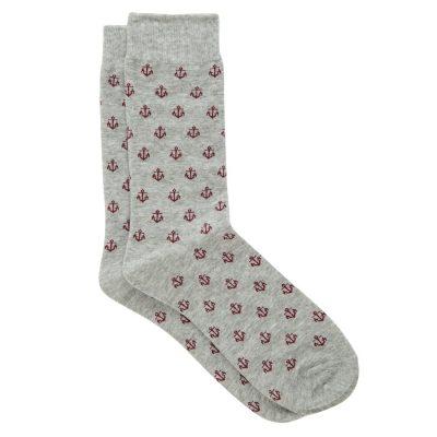 Fashion 4 Men - yd. Ahoy Anchor Sock Grey One