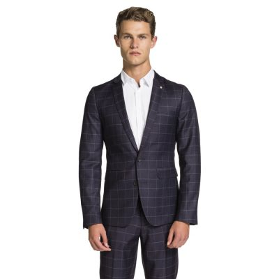Fashion 4 Men - yd. Italia Slim Fit Check Suit Jacket Dark Blue 40