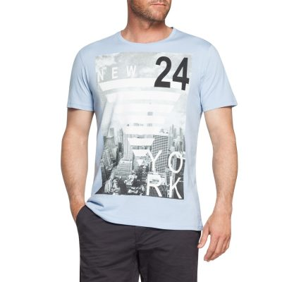 Fashion 4 Men - Tarocash 24 Hours Printed Tee Sky 5 Xl
