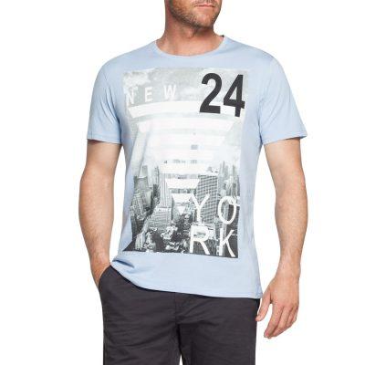Fashion 4 Men - Tarocash 24 Hours Printed Tee Sky S