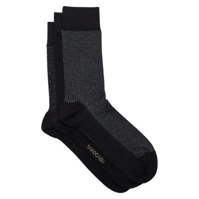 Fashion 4 Men - Tarocash 3 Pk Jacquard Patterned Sock Black 1