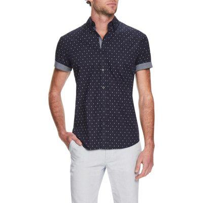 Fashion 4 Men - Tarocash Anchor Print Shirt Blue M