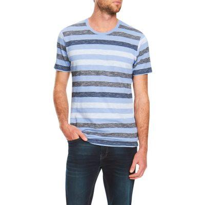 Fashion 4 Men - Tarocash Angus Stripe Crew Neck Tee Sky Xxxl