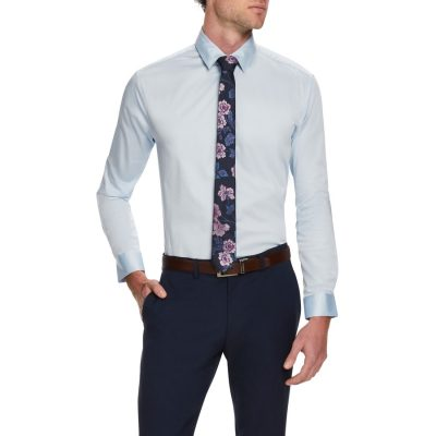 Fashion 4 Men - Tarocash Bahamas Slim Stretch Shirt Sky Xxl
