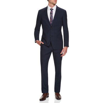 Fashion 4 Men - Tarocash Bank Check 2 Button Suit Blue 36