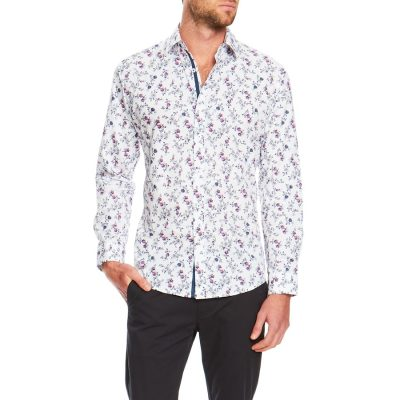 Fashion 4 Men - Tarocash Botanical Slim Print Shirt White S