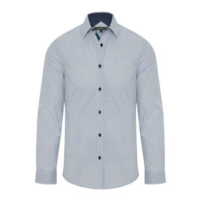 Fashion 4 Men - Tarocash Bryson Print Shirt Blue S