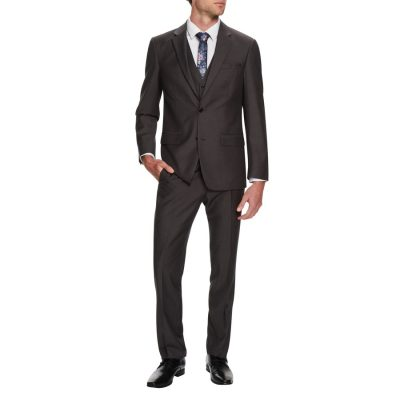Fashion 4 Men - Tarocash Cavill Textured 2 Button Suit Steel 38