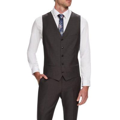 Fashion 4 Men - Tarocash Cavill Textured Waistcoat Steel L